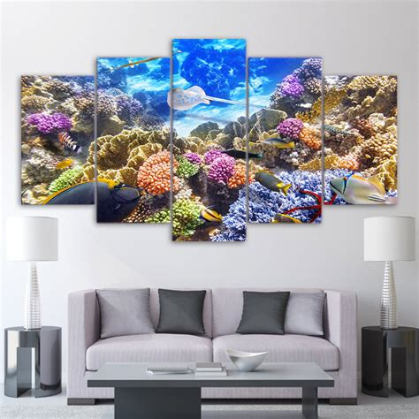 coral reef home decor framed 5 piece coral reef tropical fish ocean poster