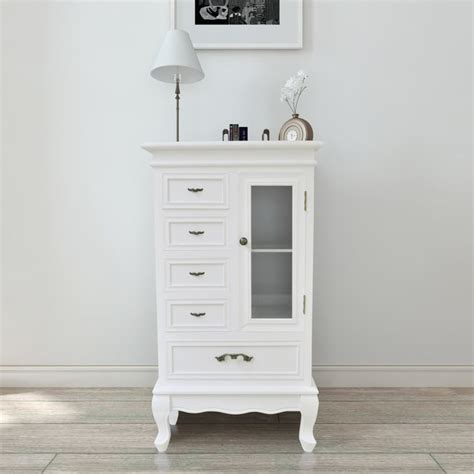 white cabinet with drawers white cabinet with 5 drawers 2 shelves vidaxl com