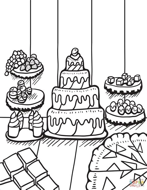 dessert coloring pages zentangle table with desserts coloring page free