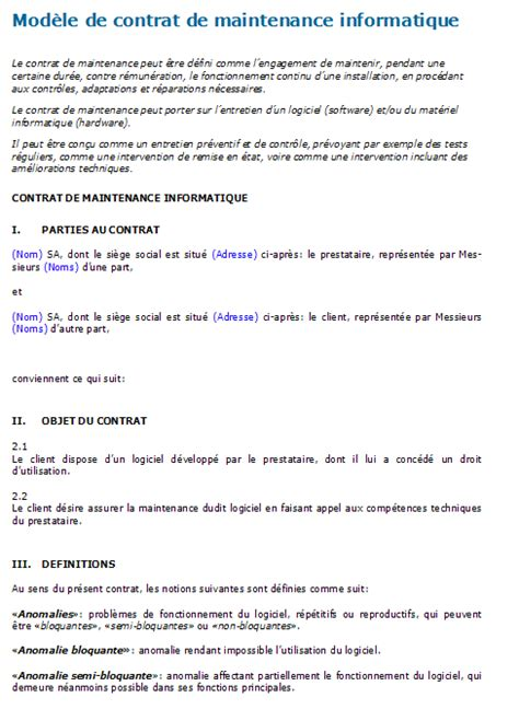 contrat de maintenance informatique mod 232 le 224 t 233 l 233 charger