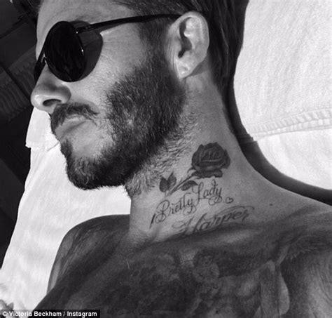 beckham tattoo writing david beckham s wife victoria debuts his latest tattoo