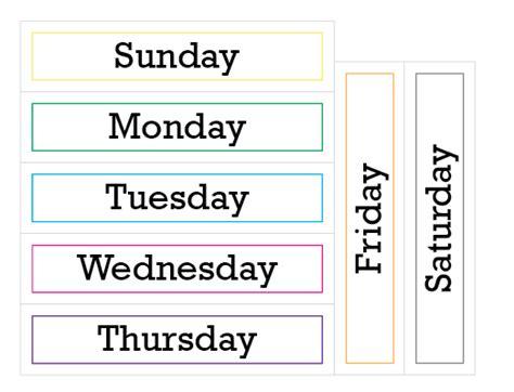 printable week days number names worksheets 187 days of the week print out