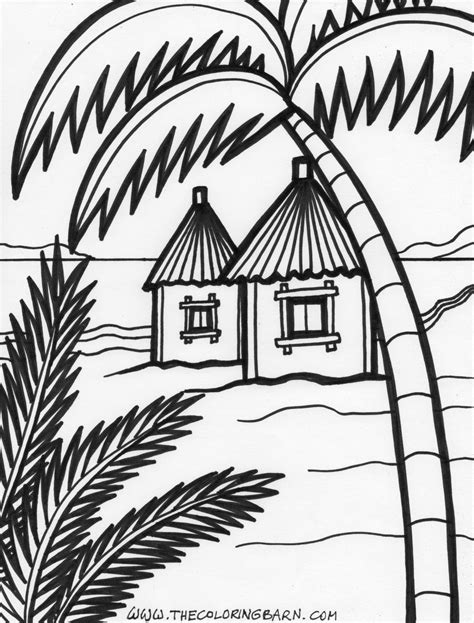 beach house coloring pages hut coloring pages