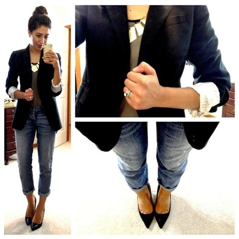pintrest cute business outfits pointy heels boyfriend jeans and black blazer style is