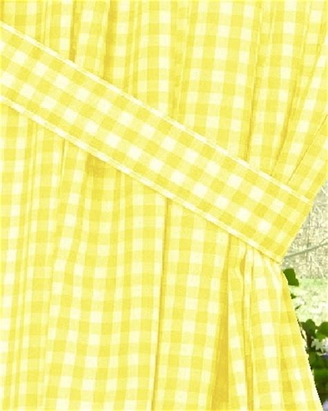 Yellow Gingham Check Window Long Curtain (available in