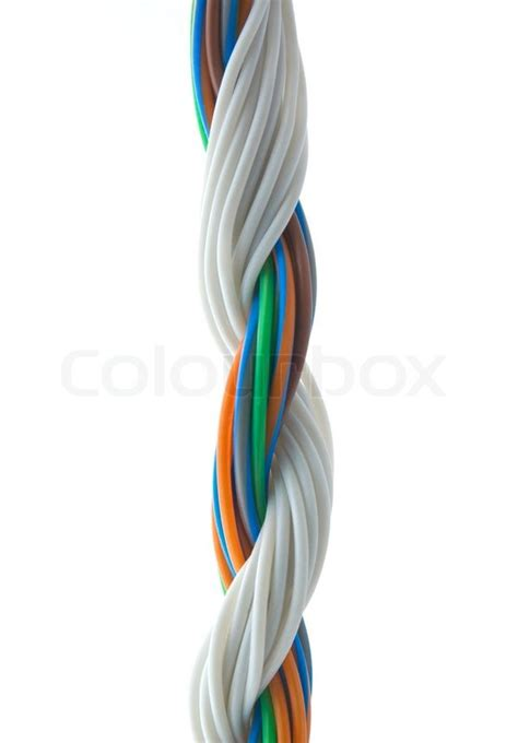white and colored wires stock photo colourbox
