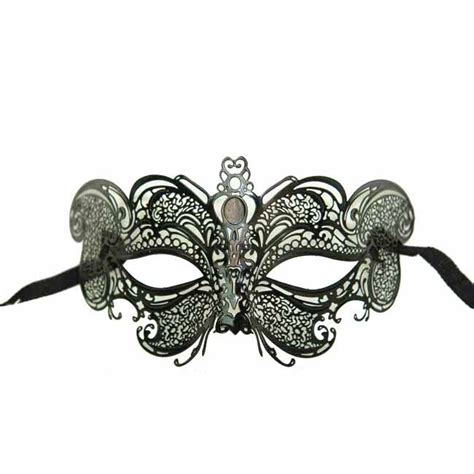 decorative metal black venetian half mask