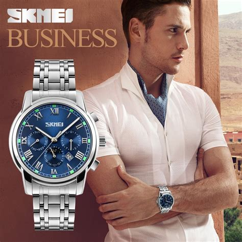 Skmei Casual Stainless Water Resistant 30m 9123cs Blue skmei casual stainless water resistant 30m