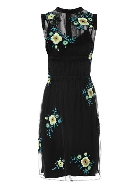 Black Flower Embroidery Depw030 lyst christopher floral embroidered tulle dress in black