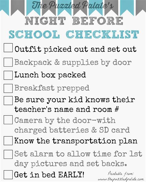 list of days before day the puzzled palate back to school checklist free printable