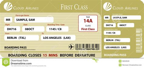 bordkarte erste klasse vektor abbildung bild 39250946