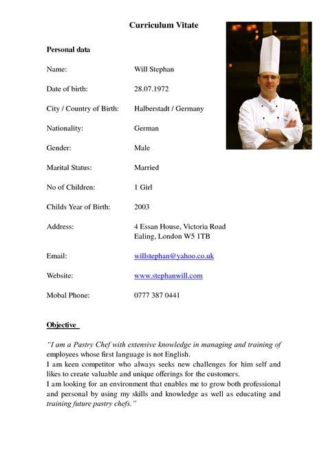 sle cv for commis chef chef de partie resume sle 28 images sle application