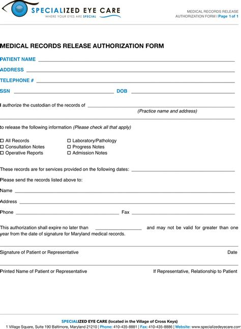 Md Record Search Maryland Records Release Form Free Premium Templates Forms