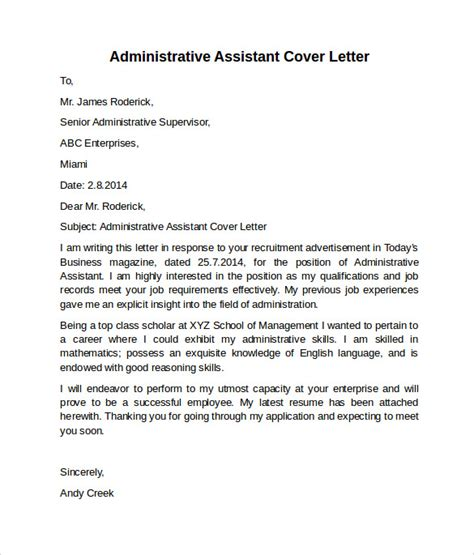 Exles Of Cover Letters For Administrative Assistant by Administrative Assistant Cover Letter 9 Free Sles Exles Formats