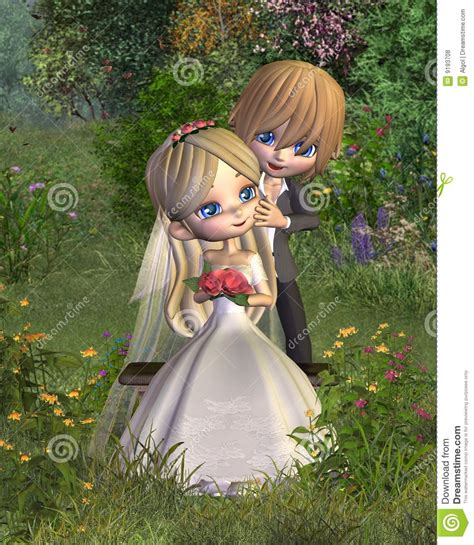 Bench Couple Shirt - cute toon wedding couple with garden background stock illustration image 9193708