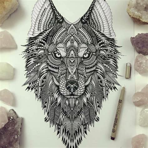wolf mandala tattoo 52 mandala wolf tattoos ideas