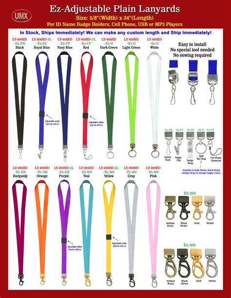 Mba Ez Flash Clip by Ez Adjustable Plain Non Printed Or Blank Lanyards