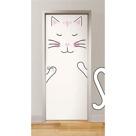 Cat Doors For Windows Decor Wallpops Pink The Cat Door Decal Dwpk2498 The Home Depot