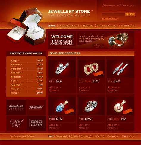 Jewelry Website Template 10817 Jewellery Web Templates