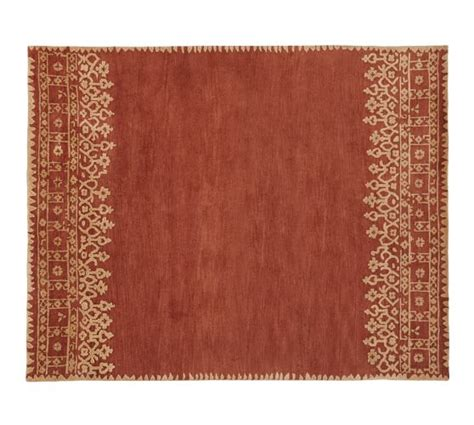 terracotta rug desa bordered wool rug terra cotta pottery barn