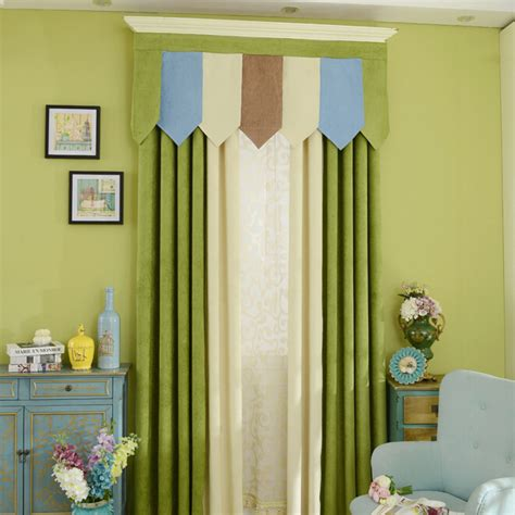 green and beige curtains green and beige thick chenille fabric blackout bedroom