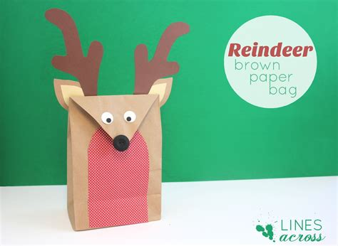 Paper Bag Reindeer Craft - reindeer brown paper bag lines across
