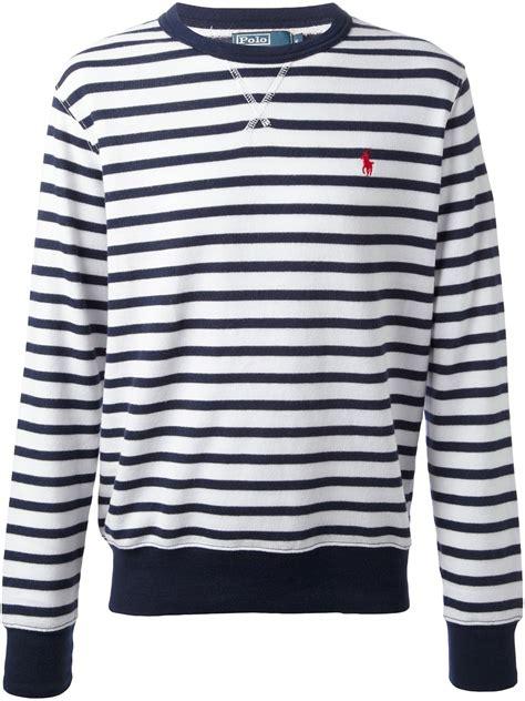 blue pattern stripe hudson hoodie lyst ralph lauren stripe sweater in blue for men