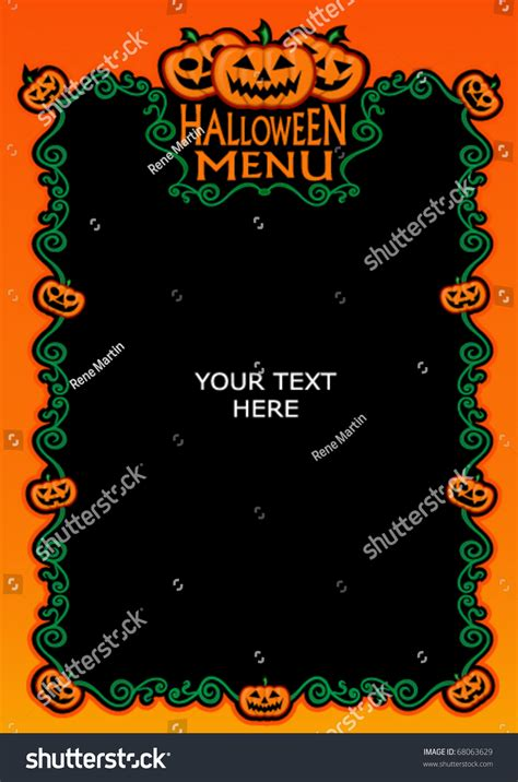halloween menu template stock vector illustration 68063629
