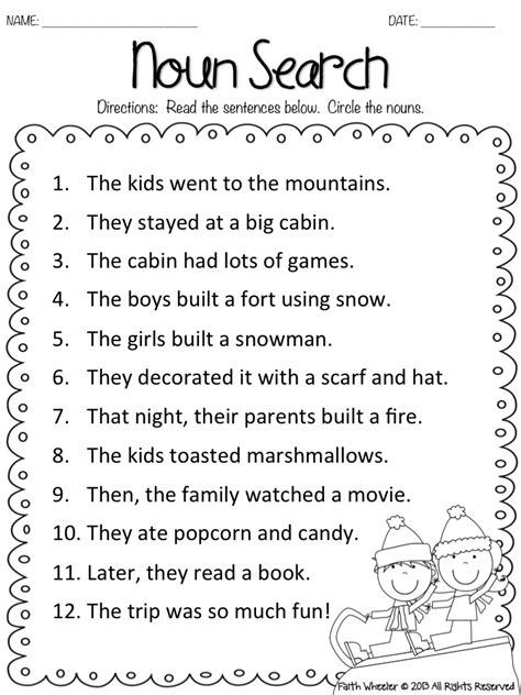 free printable noun worksheets snow kids noun search freebie firstgradefaculty com