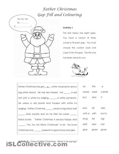 printable christmas english worksheets 17 best images of esl christmas worksheets christmas