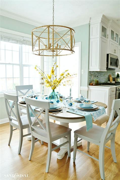 aqua and yellow coastal easter tablescape sand and sisal