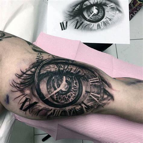 tattoo eye with clock 3d eye clock roman numeral mens bicep tattoo designs