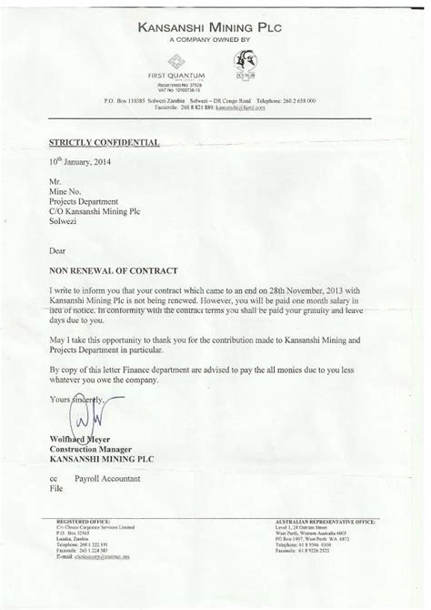 Letter Of Nonrenewal Of Employment Contract 70 Zambian Employees Laid At Kansanshi Mine Zambia