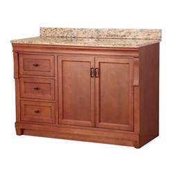 In w x 22 in d vanity in warm cinnamon with left drawers with vanity