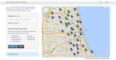 templates bootstrap maps github derekeder fusiontable map template searchable