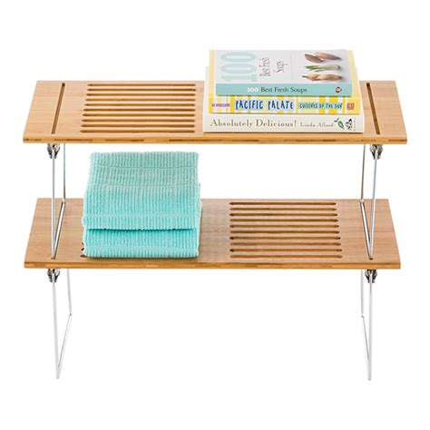 Bamboo Stacking Shelf by Large Bamboo Stacking Shelf The Container Store