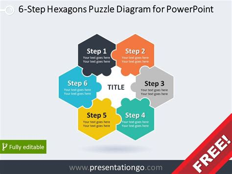 puzzle powerpoint template free free diagram for powerpoint with 6 hexagonal puzzle pieces