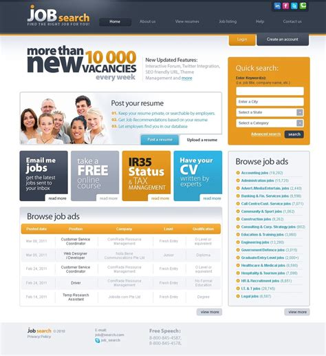 templates for job website job portal website template web design templates
