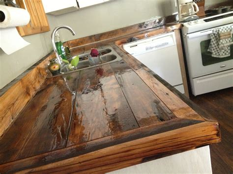 Wood Countertop by Diy Countertops Wood Rustic Kitchen Cabinets