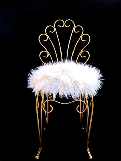 vintage hollywood regency gold metal faux fur vanity stool gold chairs vanity stool vanity chairs