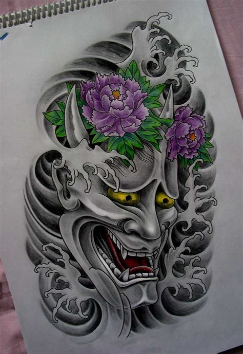 japanese hannya mask tattoo drawing real photo pictures