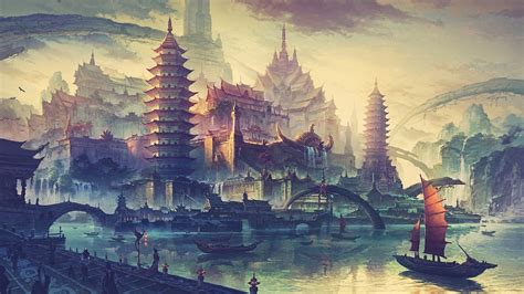 boat city drawing water ship boat city fantasy art wallpapers
