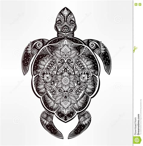 ornate turtle in tattoo style stock vector image 75706375
