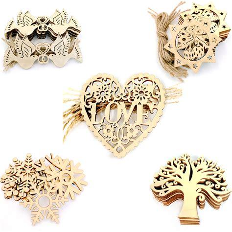 Rondaful 10pcs Baby Wood Chips 10pcs wood snowflake wedding tree hanging