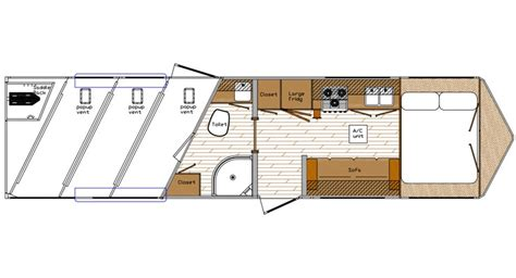 horse trailer living quarter floor plans exodus living quarters horse trailers