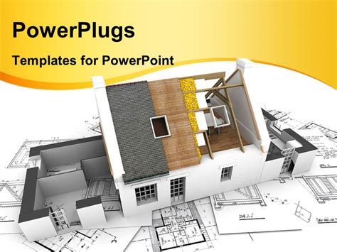 powerpoint template model of a house showing building