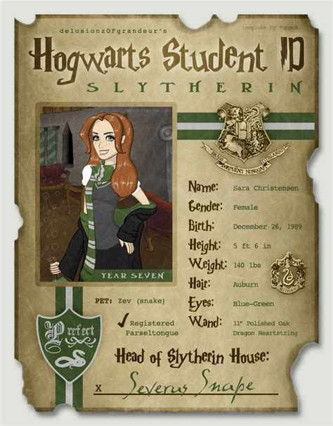 Hogwarts Id Card Template by My Hogwarts Id By Sarachristensen On Deviantart