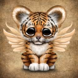 Cool Mugs Canada Quot Cute Baby Tiger Cub With Fairy Wings Quot Art Prints By Jeff