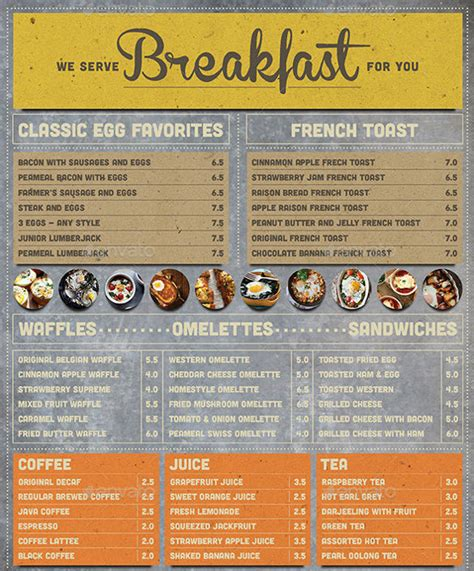 menu design eps file 33 breakfast menu templates free sle exle format