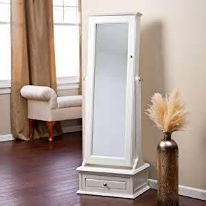 White Mirror Jewelry Armoire Belham Living Removable Decorative Top Locking